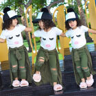 Baby - US Stock Toddler Kid Baby Girls Eyelash Tops T-shirt Hole Pants Outfits Clothes