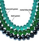 faceted cut glass crystal beads, dark green, peacock green, metal blue black