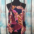 NWT MOSSIMO Women's Tank Top Floral Print Ruffle Sides Cross Back Size Large