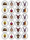 24 x Edible Personalised Icing Five Nights at Freddys Birthday Cup Cake Toppers