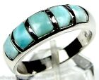 AAA Genuine Dominican Larimar Inlay 925 Sterling Silver Band Ring Size 6,7,8,9