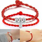 2pc Men Women Hand Braided Red Rope Cord Bracelet Couples Lucky String With Bead
