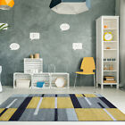 Easy Living Ochre Yellow Grey Geometric Living Room Rugs Non Shed Patchwork Rug