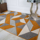 In-Trend Terra Orange Grey Area Rugs Soft Non Shed Geometric Rug For Living Room
