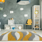 Funky Stripe Wave Ochre Gold Grey Rugs Soft Yellow Non Shed Rugs For Living Room