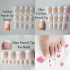 24pc French Tips Full Nail Cover Natural Finger Toe False Fake Manicure Nails