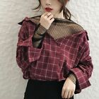 Charm Mesh Sexy V Collar Loose Blouse Plaid Stitching Lace Tops Long Sleeves New