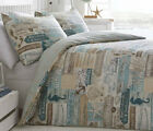 DRIFTWOOD DUVET COVER SET BEACH SEAHORSE FOOTPRINT TEAL BLUE BEIGE BROWN SHELL
