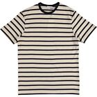 Sunspel Q82 Short Sleeve Breton Stripe Crew Neck Tee Ecru Navy