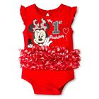 Disney Baby Girls Minnie Mouse First Birthday Tutu Bodysuit Romper 9 - 18 Months