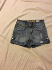 Uproar: Girl's 5 Pocket Distressed Short Shorts, Roll Cuff: China Blue, 10 Reg
