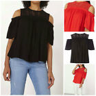 £24 New EX DOROTHY PERKINS DP COLD SHOULDER TOP RED Black Lace Crochet  6-22