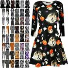 Ladies Pumpkin Scary Bats Skulls Smock Skater Dress Womens Halloween Swing Dress