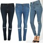 Womens Ladies Full Ankle Length Denim Jeans Knee Ribbed Hole