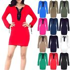 Womens Bodycon Mini Lace Up Eyelet Detail 70's Long Sleeve Ladies Tunic Dress