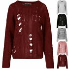 Ladies Chunky Knitted Oversize Womens Destroyed Distress Ripped Baggy Jumper Top