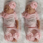 Newborn Baby Girl 3D Flower Romper Bodysuit Jumpsuit Headband Outfit Clothes US
