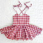 0-24 months baby clothes - USA Baby Girls Kids Checked Backless Casual Dress Princess Dress Clothes 0-24M