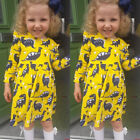 Newborn Kids Baby Girls Cotton Long Sleeve Dinosaur Party Pageant Dress Clothes