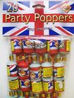 UNION JACK PARTY POPPERS NEW YEAR PARTY FAVORS ROYAL WEDDING QUEEN JUBILEE FLAG