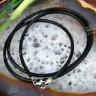 2mm Black 925 Sterling Silver Lobster Clasp Rubber Cord Necklace Punk Cool Hot