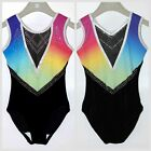 DreamSky Ombre with Black Mystique Girls Gymnastics leotard