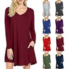 New Women's Casual V-Neck Pocket Long Sleeve Solid Loose Blouse Dress S-3XL