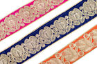 """02"""" (5.08 Cm)wide By The Yard Embroidered Trim Jacquard Sew Ribbon T346"""