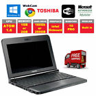 "Toshiba laptop netbook 10.1"" 160GB  250GB Intel Atom 1.66GHz  Webcam Windows 10"