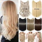 "100% Natural Thick 3/4 Full Head Band Hidden Wire Clip In Hair Extension 24"" F69"