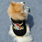 New Pet Clothes Small Dog Vest  T-Shirt Black Cool Skull Cotton Costume Apparel