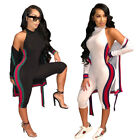 2pcs Fashion Women Long Cape Coat + Skinny Pants Set Striped Jumpsuit Casual
