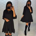 Women Loose Round Neck Falbala Long Sleeve Beach Party A-Line Solid Casual Dress