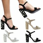 Womens Ankle Strap Pearl Block Heel Sandals Ladies Strappy Buckle Party Shoes