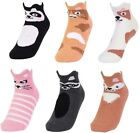 6 12 Pairs Womens Girls COZY Animal PICOT CUTSIE Anklet Socks w/ Grippers SS100