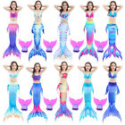New Kids Fairy Mermaid Tail Scales Monofin - Swimming Swimmable Swim Flippers