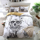 Skull Floral Duvet Cover with Pillow Cases Tattoo Mask Quilt Covers Bedding Set
