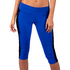 Workout Capri with Lace Sides in Royal Blue & Black by Gym Girl