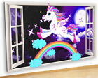 M520 Stars Girls Bedroom Unicorn Canvas Picture Poster Wall Art Stickers Room