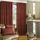 Paoletti Renaissance Chenille Jacquard Woven Lined Eyelet Curtains