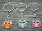 1 x Enamel Owl Charm Glass Plated Keyring Assorted Choice Of Colours