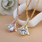 Vogue Female Crystal Rhinestone Plated Silver Chain Pendant Necklace Jewelry