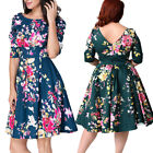 Women Vintage Half Sleeve Casual Floral Evening Party Cocktail Swing Dress New