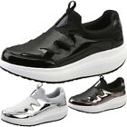 Ladies Sport Wedge Shoes Trainers Metallic Canvas Comfy Causal Sports Shoes Size