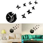 Fashion Removable Mirror Acrylic Wall Clock Butterfly Stickers DIY 3D Home Decor
