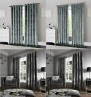 LUXURY CRUSHED VELVET CURTAINS READY MADE LINED EYELET RING TOP OR PENCIL PLEAT
