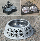 Black Cast Iron Raised Dog Bowl Antique Style Cat Dish Steel 2 Feeder in/outdoor