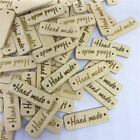 50Pcs Wooden Hanging Tag Sign 'Hand made' with 2 Holes Wall Door DIY craft gifts