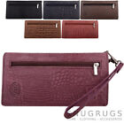 Ladies / Womens Genuine Leather RFID Protected Clutch /Matinee Purse Croc Design