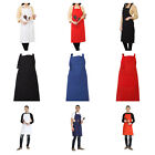 Solid Unisex Aprons With Pockets Restaurant Home Cotton Aprons Bib